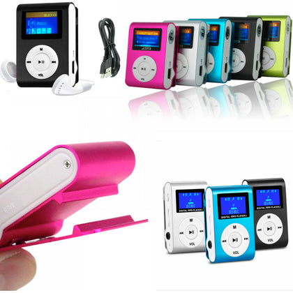 MP3 & FM Music Player with LCD Screen Clip-On Mini Support 32GB Micro SD TF-Assorted Colors - christmasgiftbuy