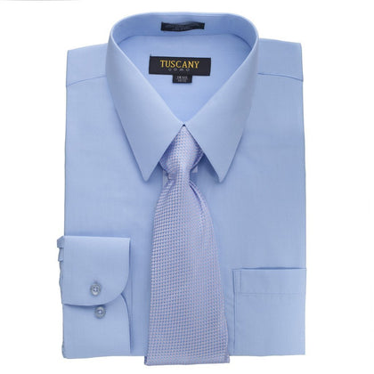 Men's Light Blue Dress Shirt With Mystery Tie Set Regular-Fit Solid Long Sleeve -All Sizes