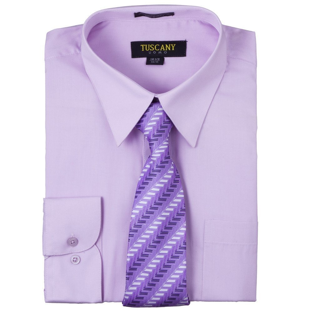 Men's Lilac Dress Shirt With Mystery Tie Set Regular-Fit Solid Long Sleeve -All Sizes