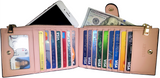 Chelsea Women's Genuine Leather RFID-Blocking Bi-Fold Card Case Wallet with Pocket - Assorted Colors