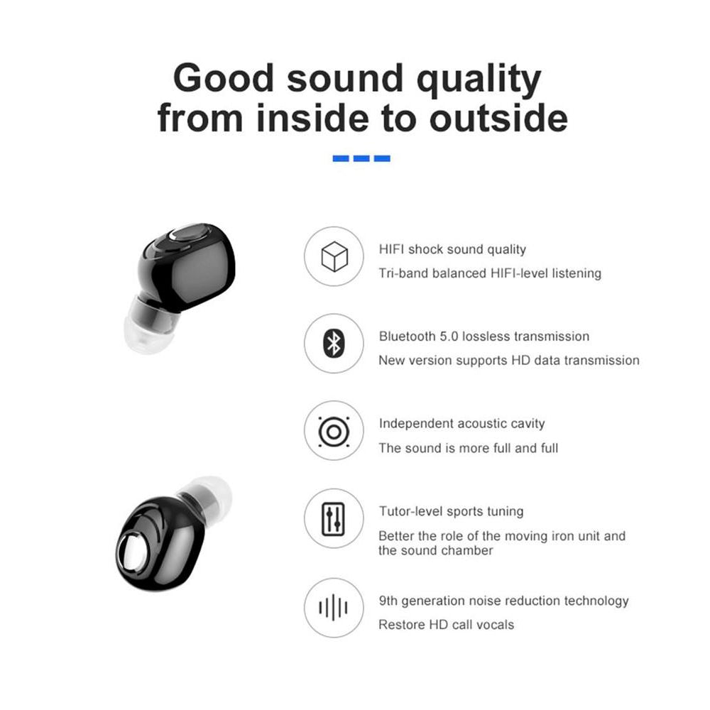 Mini In-Ear Wireless Bluetooth  Earbuds Earphones Stereo Headset 5.0