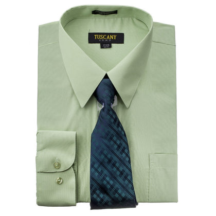 Men's Mint Dress Shirt With Mystery Tie Set Regular-Fit Solid Long Sleeve -All Sizes