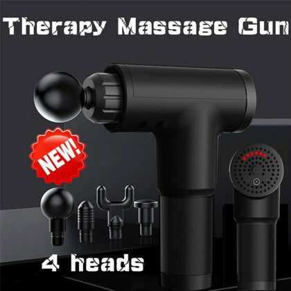 Massage Gun Deep Tissue Percussion Massager Muscle Vibrating Relaxing + 4 Heads