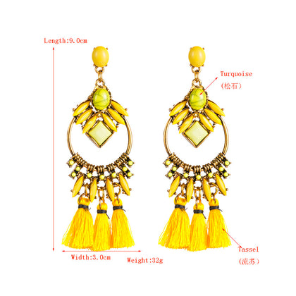 Women's Earrings Vintage Fringed Color Acrylic Alloy Long Circle - christmasgiftbuy