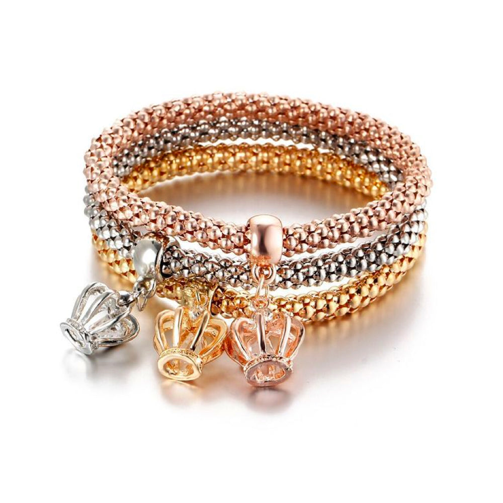 Women's Fashion 3 Row Stretch Bracelet with charms & Gift Pouch