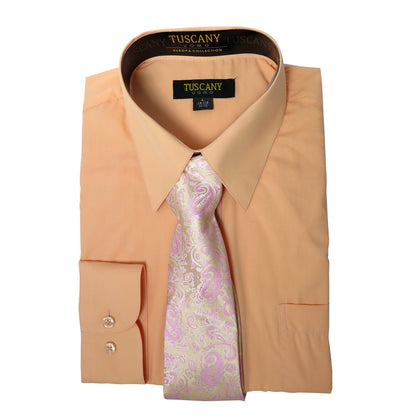Men's Peach Dress Shirt With Mystery Tie Set Regular-Fit Solid Long Sleeve -All Sizes