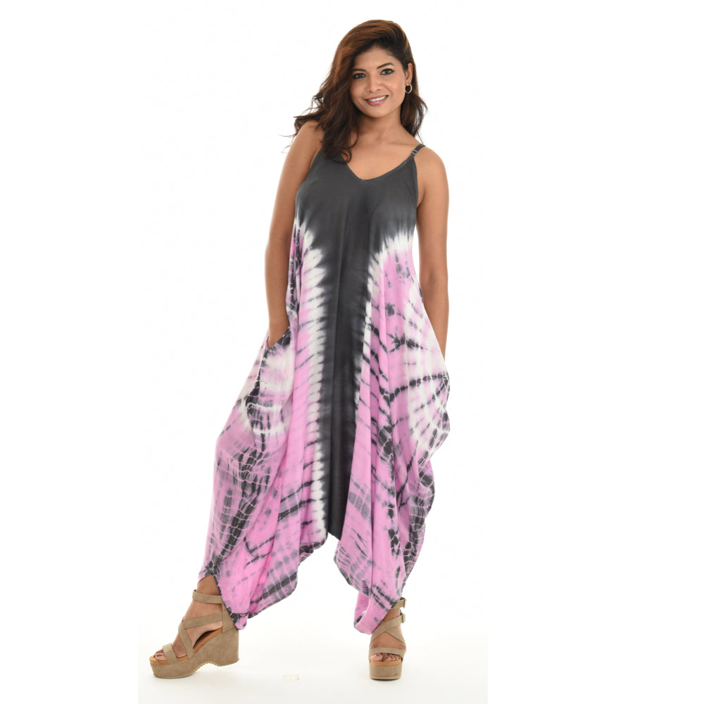 Tie dye women's long sleev less dress
