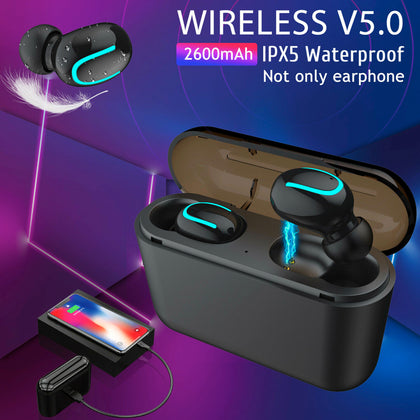 Bluetooth 5.0 Headset TWS Wireless Earphones Twins Earbuds 5D Stereo Headphones With Power Bank - christmasgiftbuy