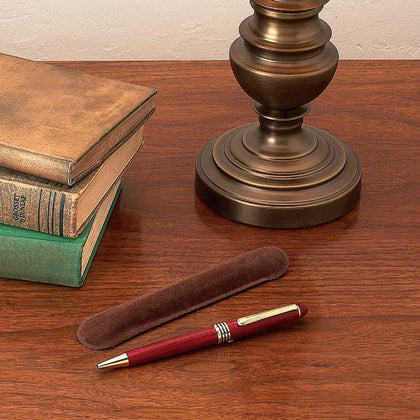 2 Pieces Set: Rosewood Executive Pen with Velveteen Pouch