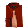Men's Rust Dress Shirt With Mystery Tie Set Regular-Fit Solid Long Sleeve -All Sizes