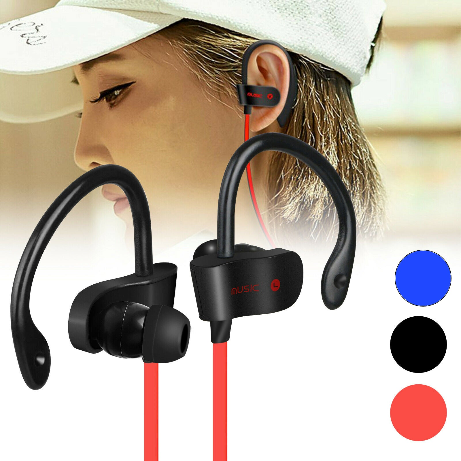 Sweat-Proof Noise-Canceling Wireless Bluetooth Earbuds - Assorted Colors