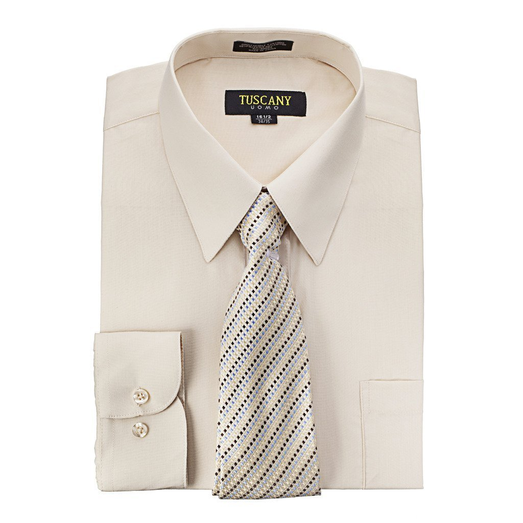 Men's Tan Dress Shirt With Mystery Tie Set Regular-Fit Solid Long Sleeve -All Sizes