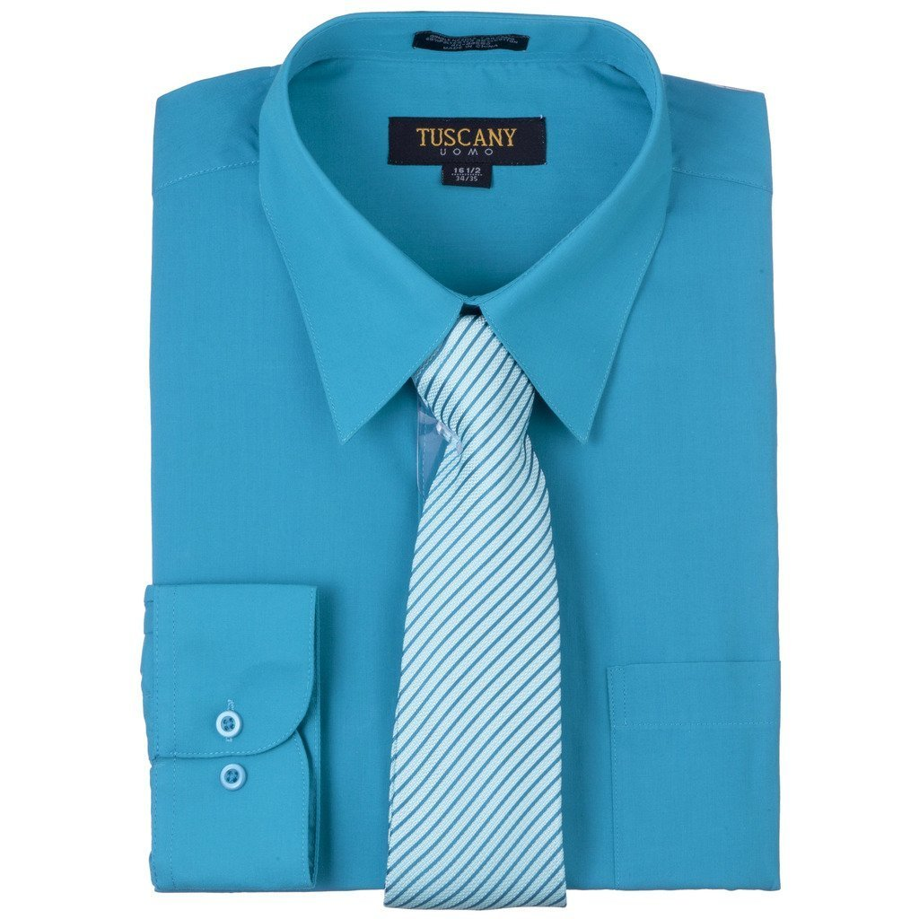 Men's Turquoise Dress Shirt With Mystery Tie Set Regular-Fit Solid Long Sleeve -All Sizes