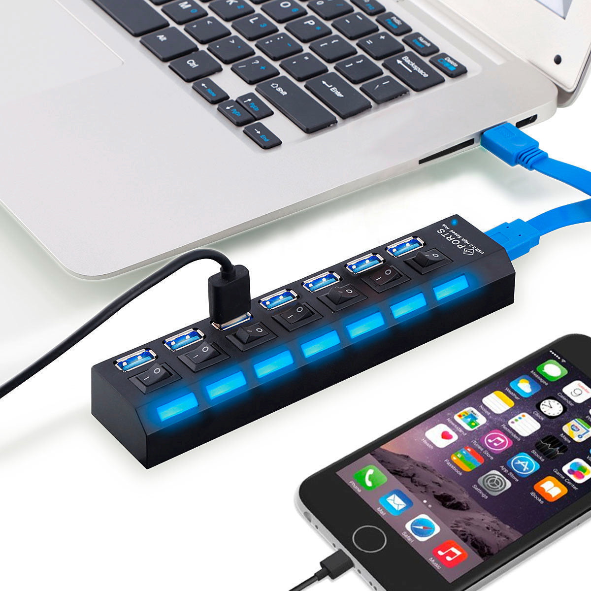 High-Speed 7-Port USB 2.0 Adapter & Charger (Assorted Colors)