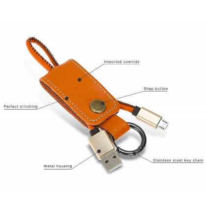 Vegan Leather USB-Charging Key Chain for Apple® Lightning® or Android Devices - christmasgiftbuy