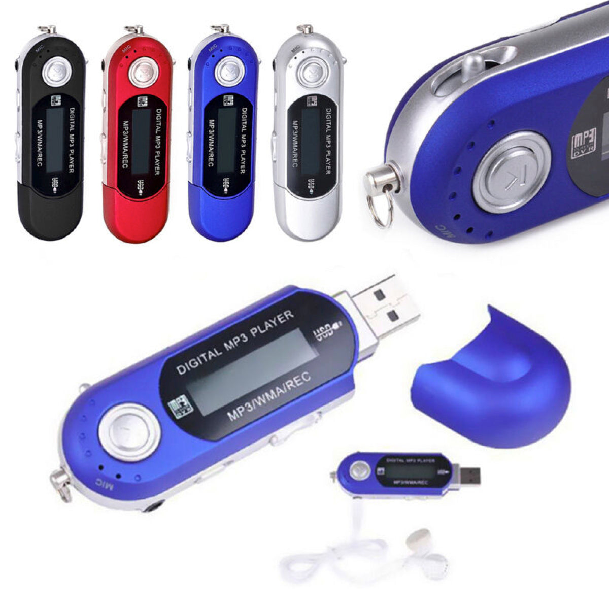 Mini Digital MP3 Player with USB Port & LCD Screen - Assorted Colors