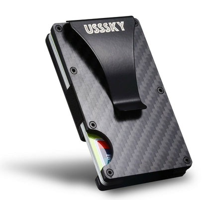 USSSKY RFID Carbon Fibre Wallet Slim Money Clip Minimalist Blocking Front Pocket Black