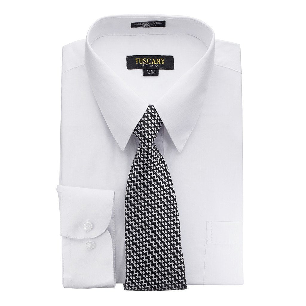 Men's White Dress Shirt With Mystery Tie Set Regular-Fit Solid Long Sleeve -All Sizes