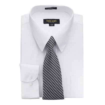 Men's White Dress Shirt With Mystery Tie Set Regular-Fit Solid Long Sleeve -All Sizes - christmasgiftbuy