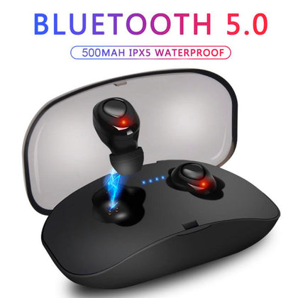 Wireless Mini Bluetooth Earphones Headset Mic HIFI CVC6.0 Noise Cancelling Sport, Gaming, General Use - christmasgiftbuy