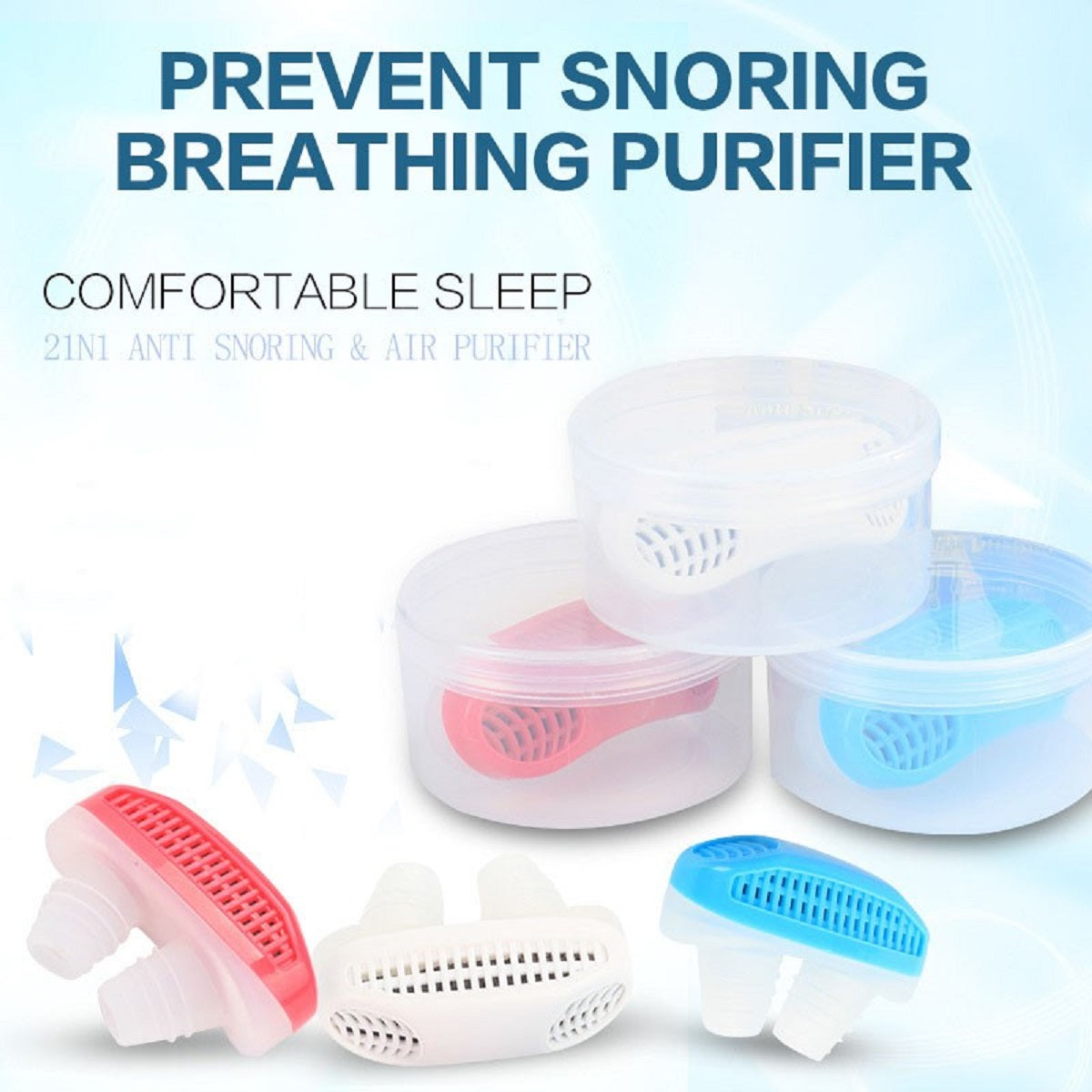 Anti-Snoring Sleep Apnea Nasal Device with Protective Case - Assorted Colors
