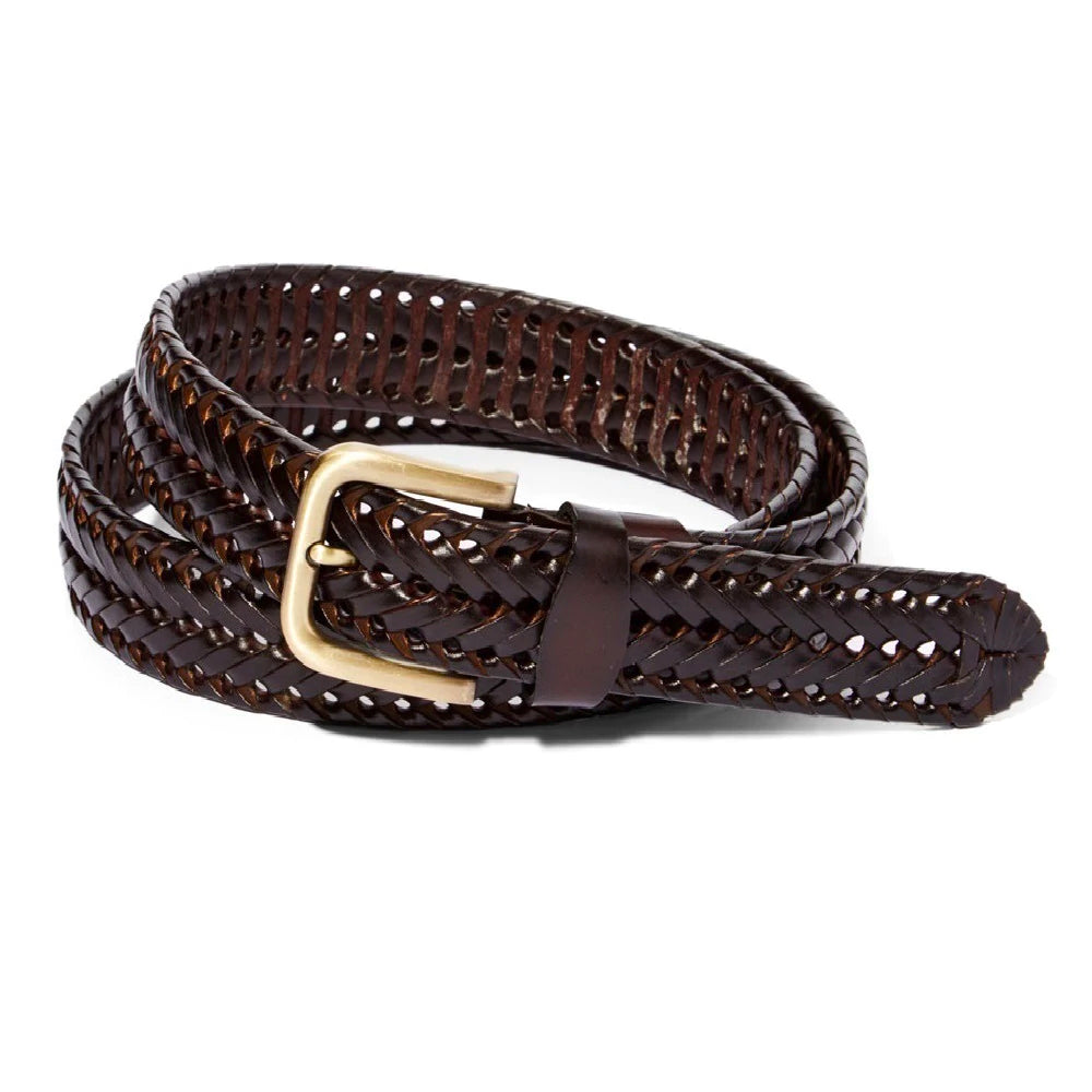 Men's Braided Genuine Leather Dress Belt-Brown & Black