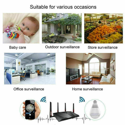 HD 1080P 360 Panoramic Hidden Wifi IP Camera Light Bulb Home Security Lamp Cam - christmasgiftbuy