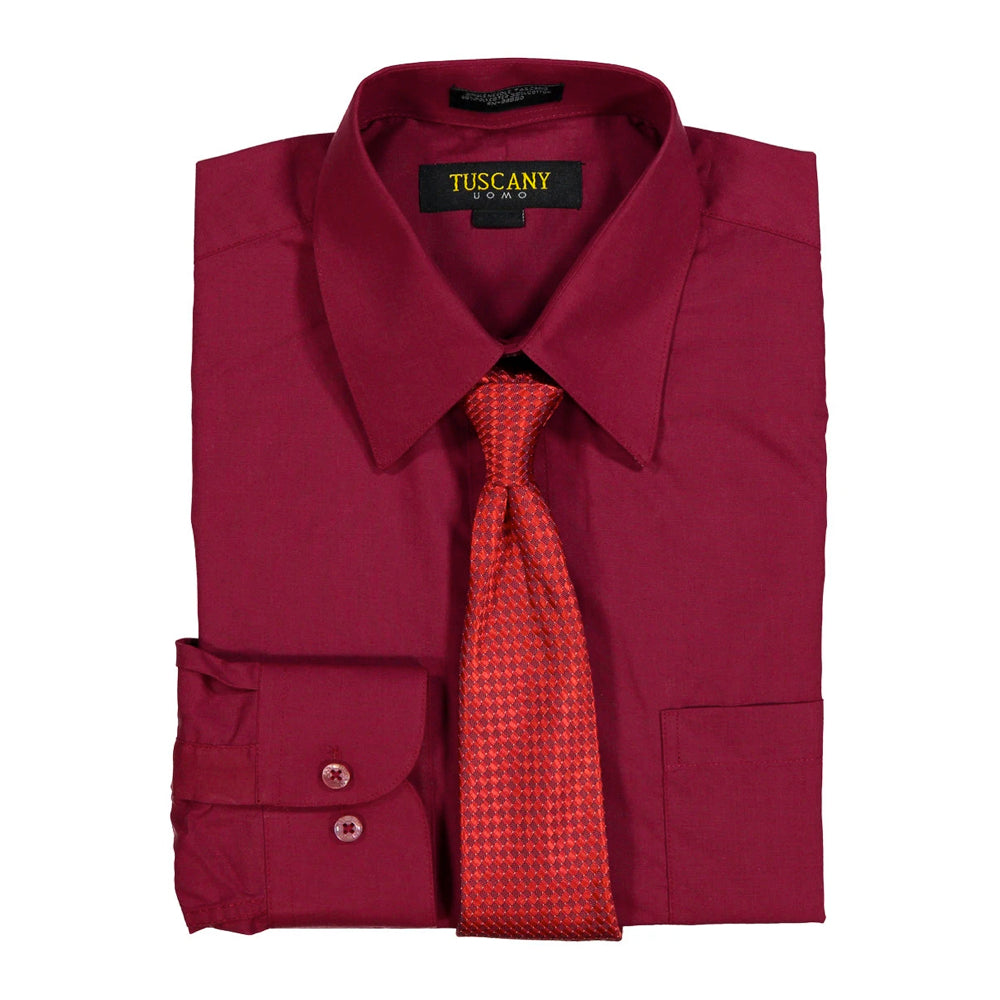 Men's Burgundy Dress Shirt With Mystery Tie Set Regular-Fit Solid Long Sleeve -All Sizes