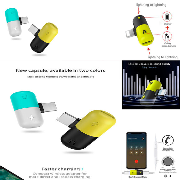 Mini Capsule Charger & Headphone Adapter for Apple® Lightning® Devices - Assorted Colors