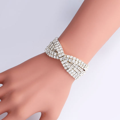 Swarovski Elements Crystal Tennis Silver Tone Bracelet Jewelry