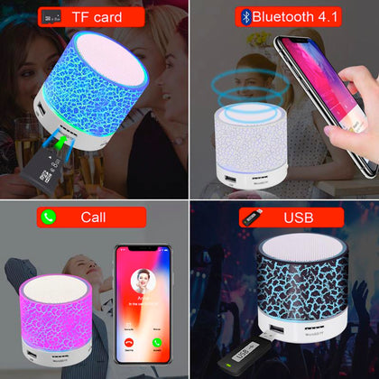 Mini LED Crackle Design Wireless Bluetooth v2.1 Speaker with USB & SD Card Support - Assorted Colors - christmasgiftbuy