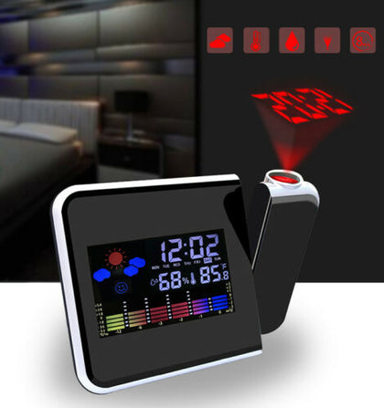 Digital Projection Weather Temperature Alarm Clock LCD with LED Back Light Snooze
