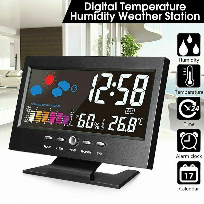 LCD Digital Alarm Clock Snooze Calendar Thermometer Hygrometer Weather Display