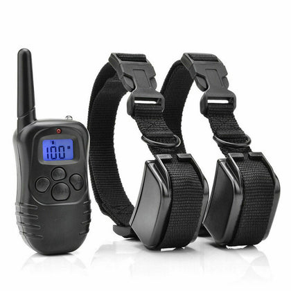 2 Pack Dog Pet Electric Shock Training Collar Waterproof Rechargeable