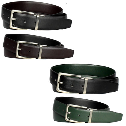 2-Pack Men's Genuine Leather Reversible Dress Belts - Assorted Colors - christmasgiftbuy