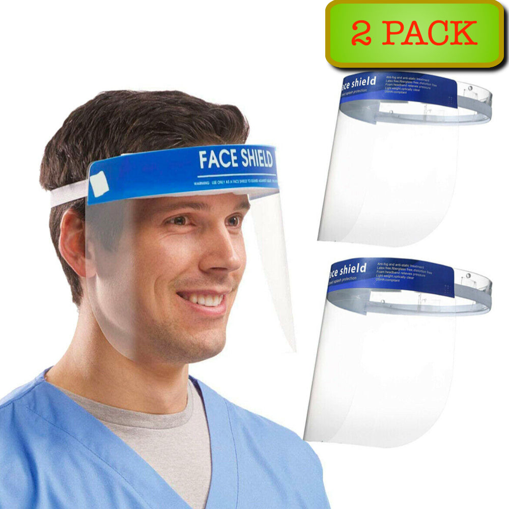 2-Pack Anti-fog Empty Top Cap Face Shield Hat
