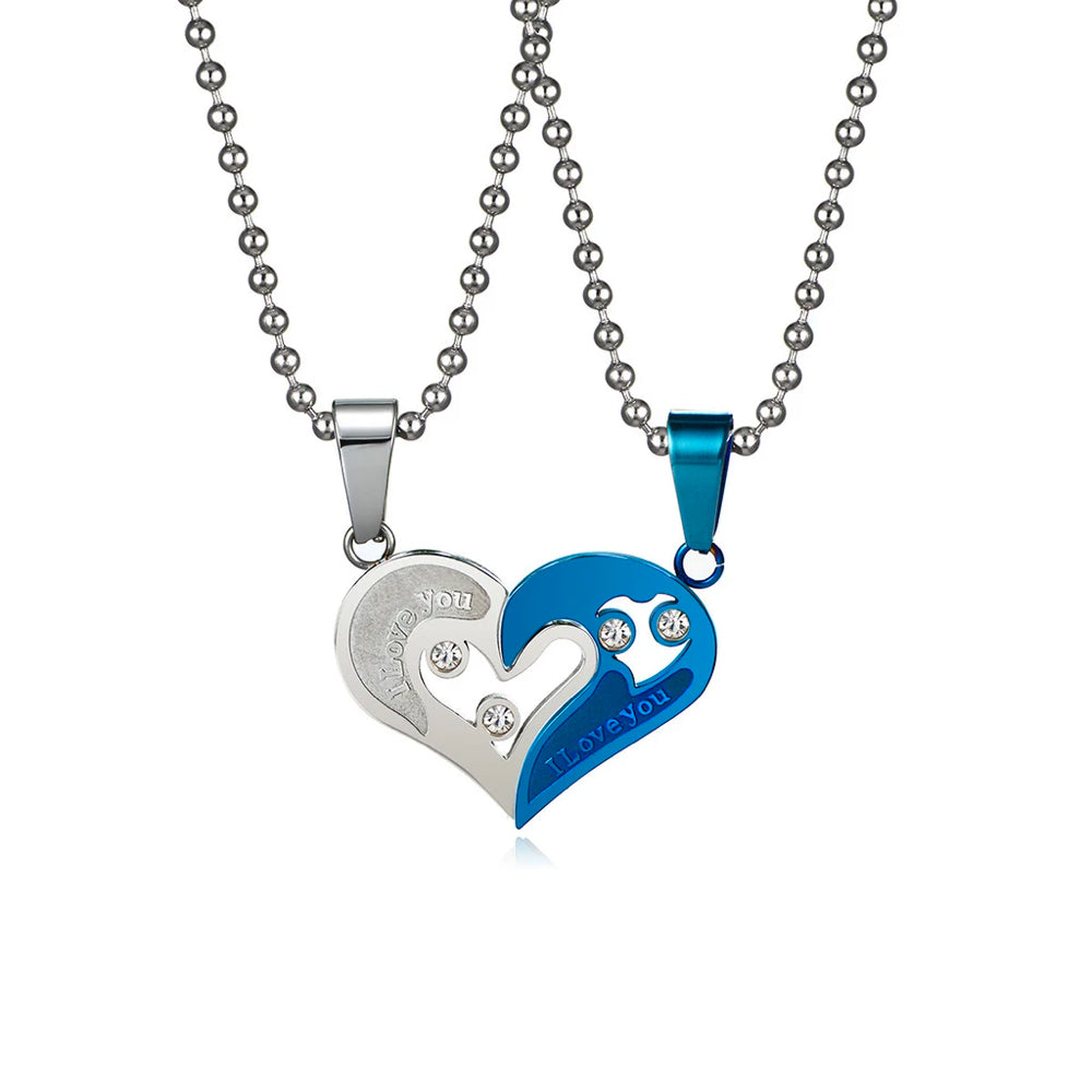 """New Stainless Steel/""""I Love You/""""Matching Hearts Couple/'s Pendant Necklace Silver"""