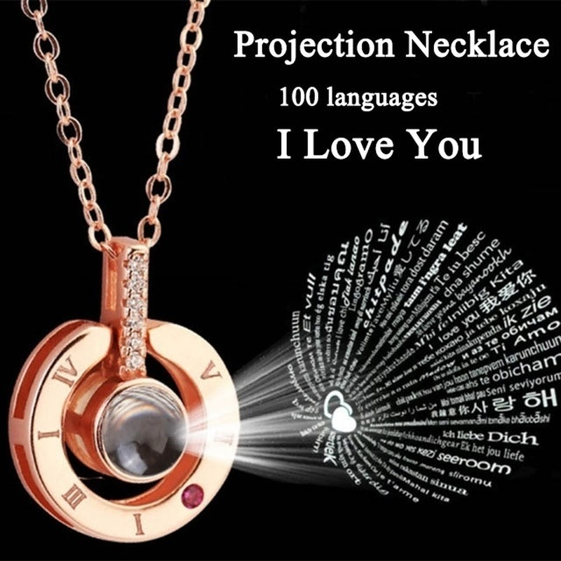 I LOVE YOU in 100 languages Pendant Necklace Romantic Day Valentine's Day gifts