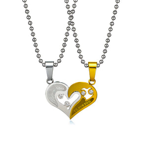 """ I Love You"" Matching Heart His&Hers Couple Pendant Stainless Steel Necklace Valentine gift"