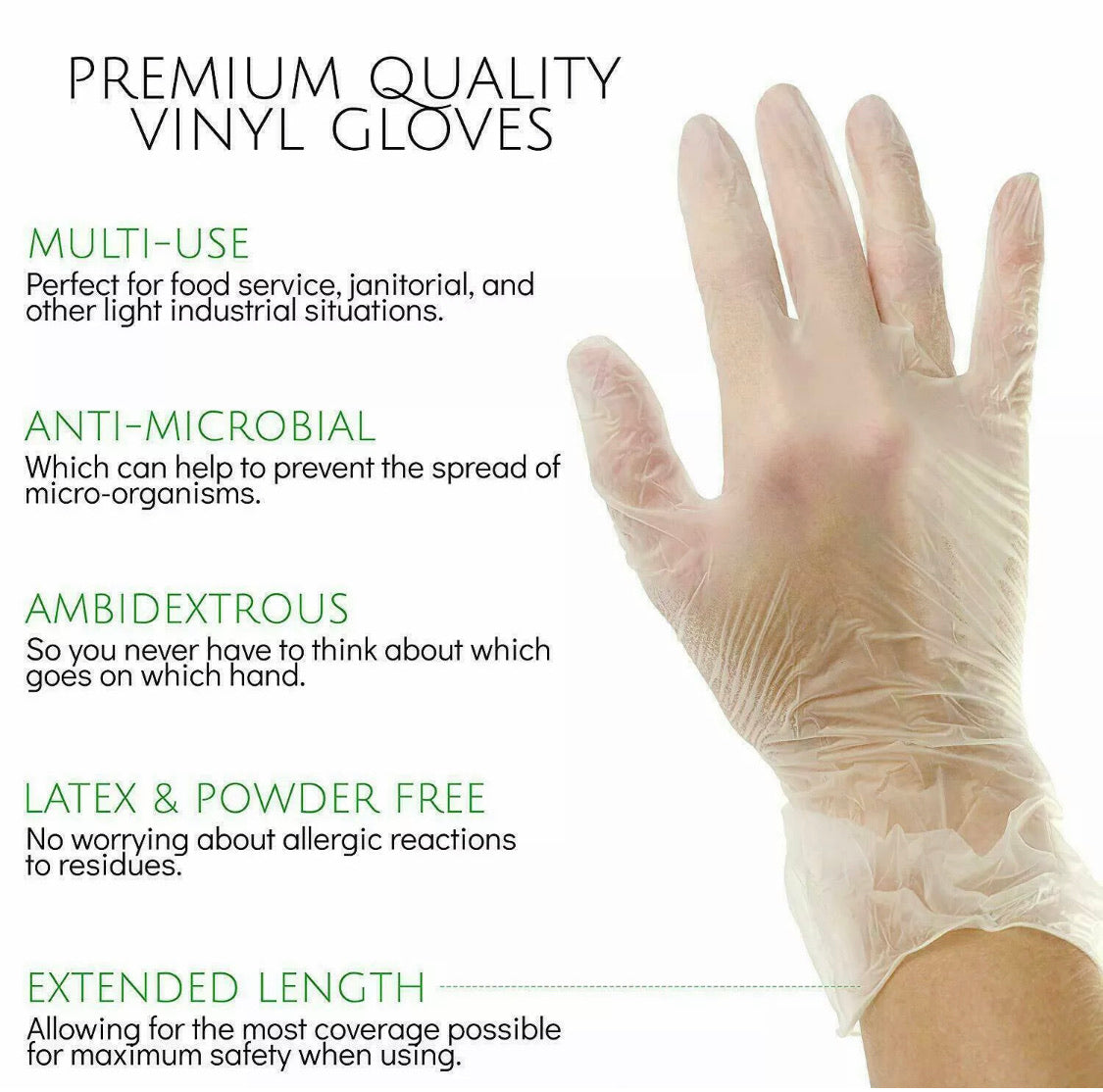 100 PCS Vinyl Gloves Clear Powder Free NON Latex Examination Gloves