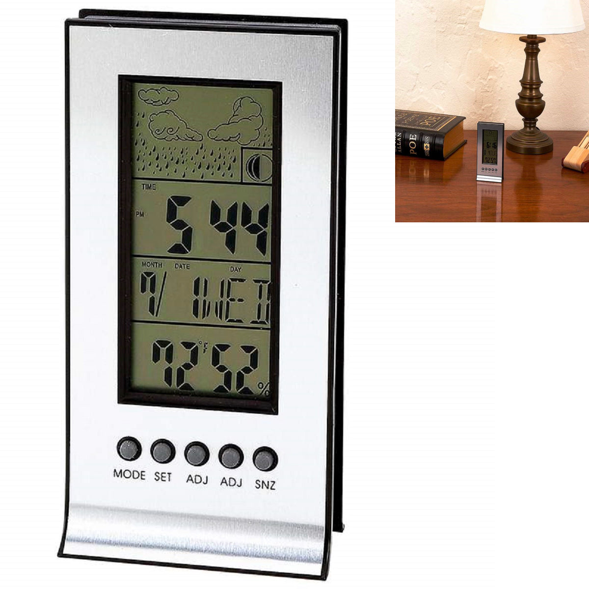 Indoor Weather Station Alarm Clock with Calendar