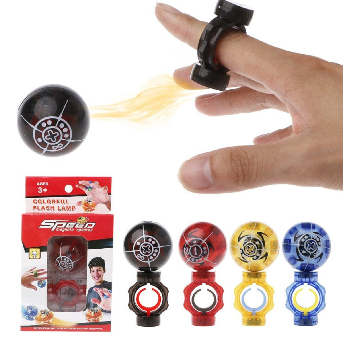 Magic Speed Flashing Magneto Sphere with Finger Clip - Assorted Colors