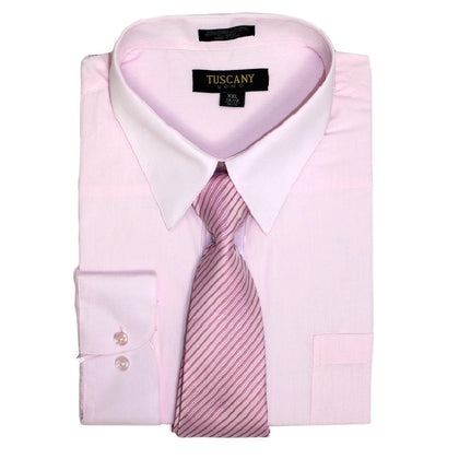 Men's Pink Dress Shirt With Mystery Tie Set Regular-Fit Solid Long Sleeve -All Sizes