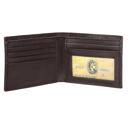 Men's Genuine Leather RFID Signal Blocking Bifold Wallet With Giftbox