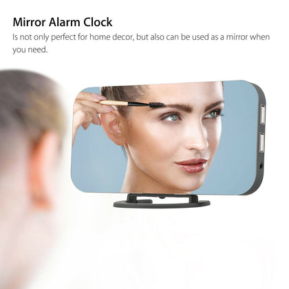 Digital Mirror Alarm Clock LED Display Portable Modern USB/Battery Operated Mirror