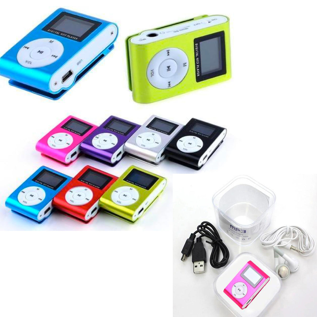 MP3 & FM Music Player with LCD Screen Clip-On Mini Support 32GB Micro SD TF-Assorted Colors