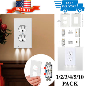 3 LED Duplex & Decor Night Angel Light Sensor LED Plug Cover Wall Outlet Coverplate 1/2/3/4/5/10Pc