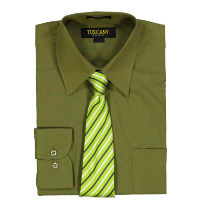 Men's Olive Dress Shirt With Mystery Tie Set Regular-Fit Solid Long Sleeve -All Sizes