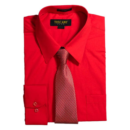 Men's Red Dress Shirt With Mystery Tie Set Regular-Fit Solid Long Sleeve -All Sizes