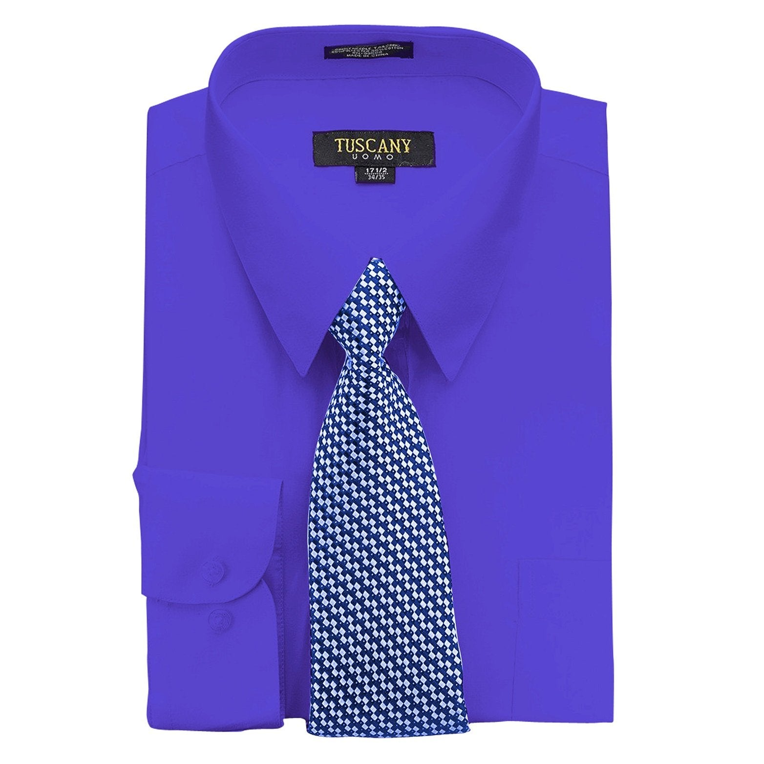 Men's Royal Blue Dress Shirt With Mystery Tie Set Regular-Fit Solid Long Sleeve -All Sizes